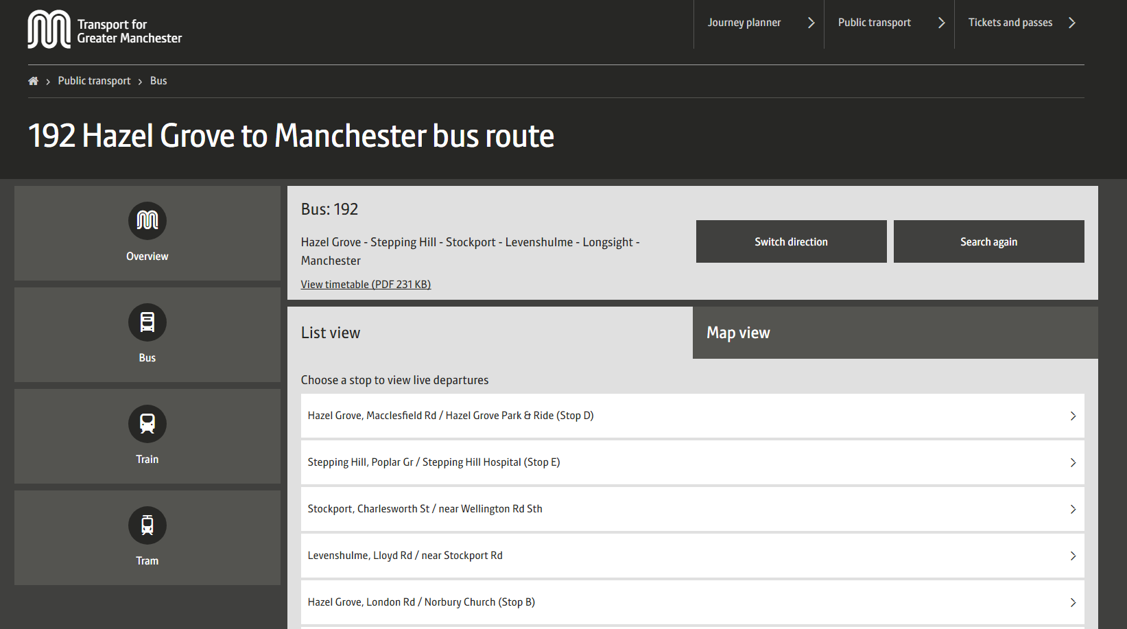Picture of 192 bus route