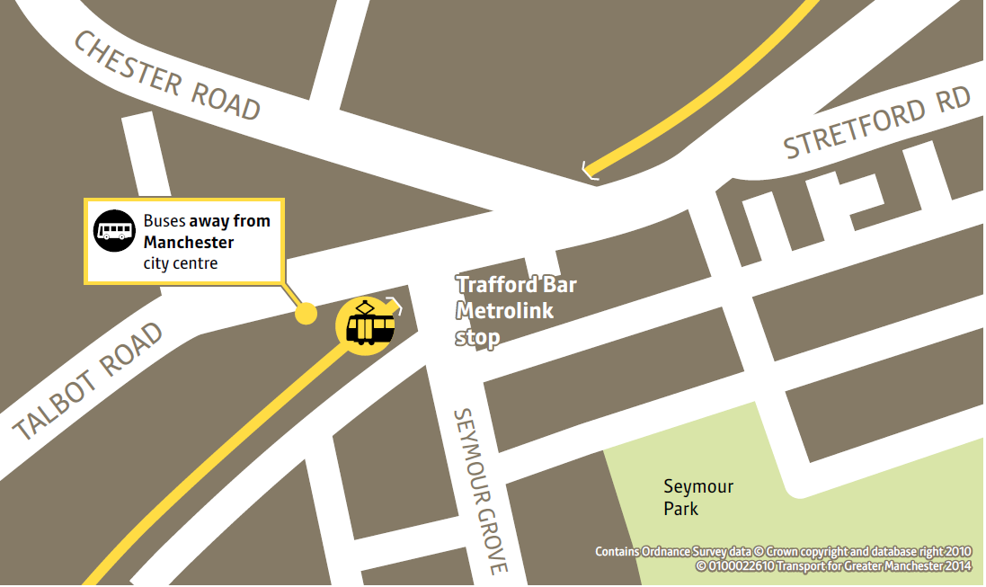 Trafford Bar replacement bus stop(towards Eccles/MediaCity only)