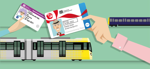 Tram and train bus pass