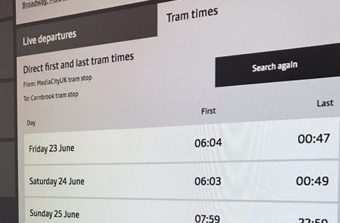 first and last tram times