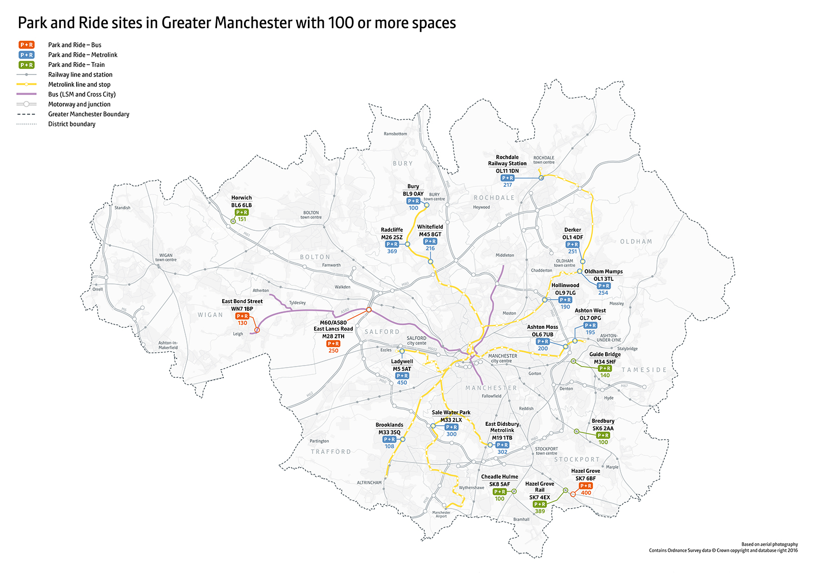 GM P&R Map Nov 2018 (100 spaces or above) POSTCODES