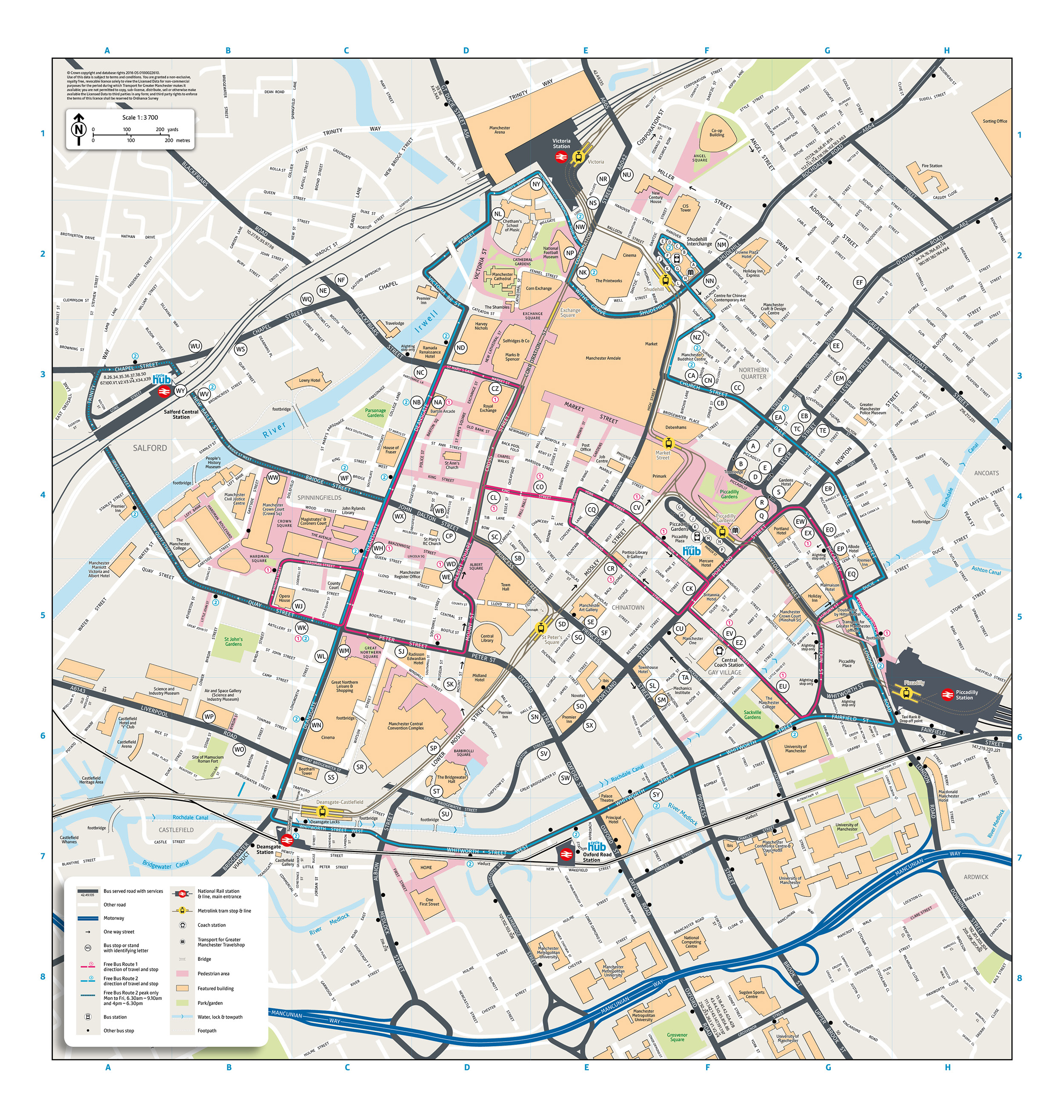 Manchester City Map Manchester city centre map | Transport for Greater Manchester