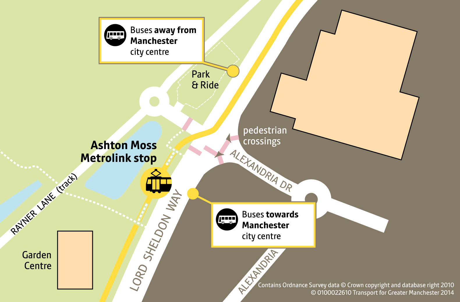 Ashton Moss Replacement Bus Map