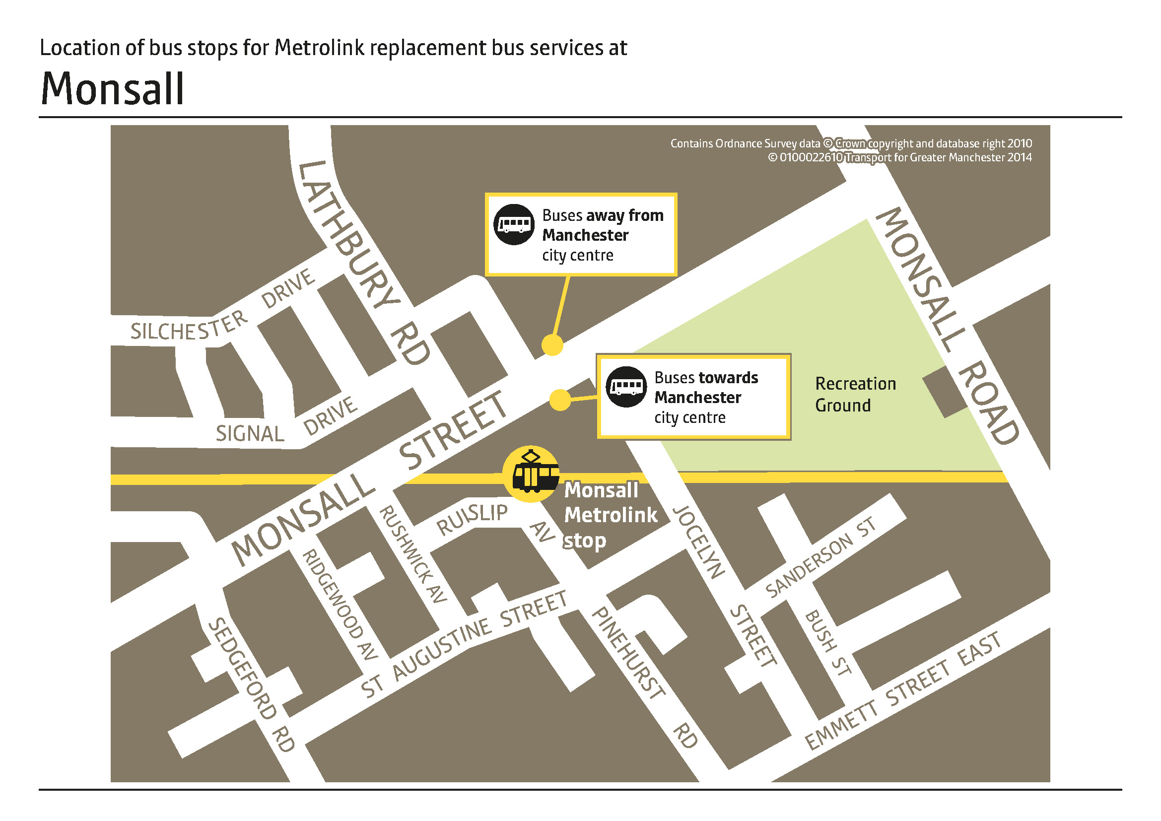 Monsall Replacement Bus Map