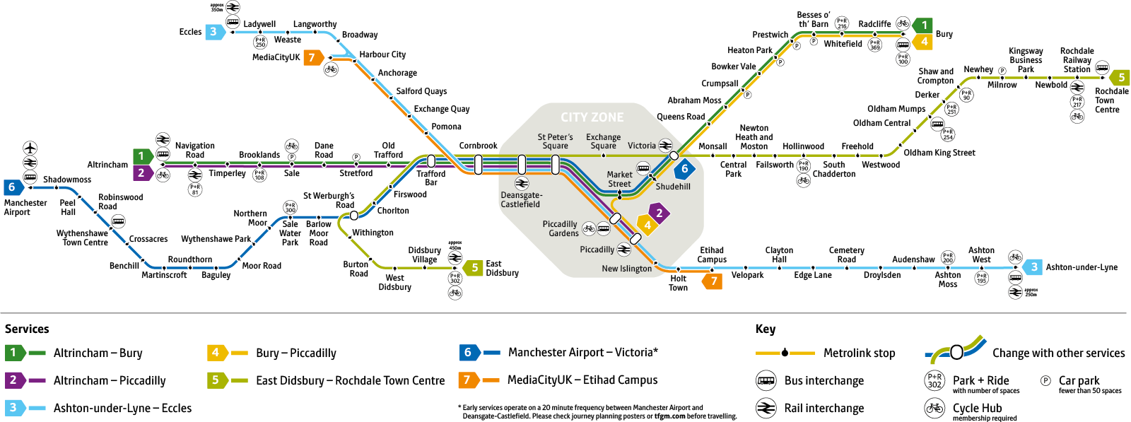 Manchester Metrolink Map Greater Manchester tram network map | Transport for Greater Manchester Manchester Metrolink Map