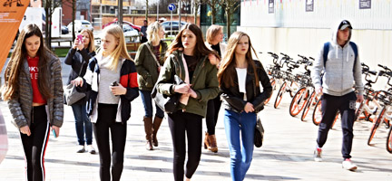 A group of young people walking