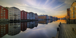 Sunset at the Nidelva river in Trondheim