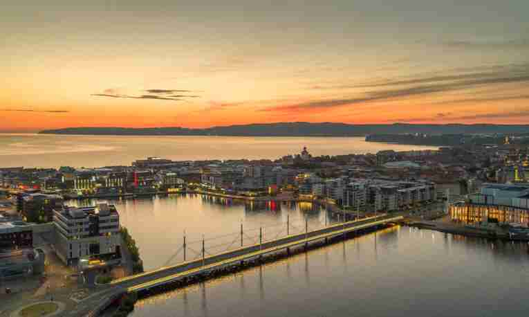 morning lights hit jonkoping city