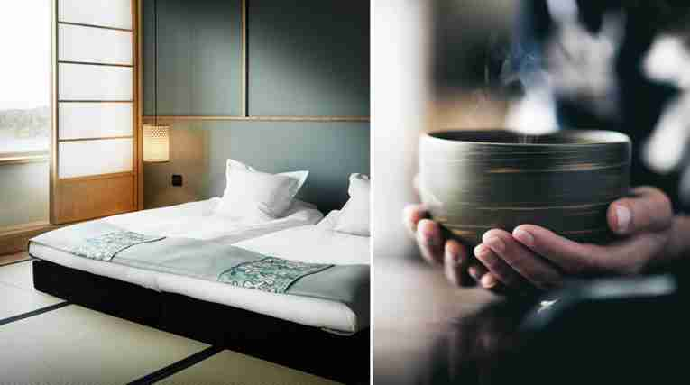 Comfortable beds and a bowl of hot tea at Yasuragi