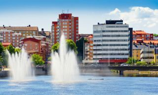 lakeside view of Norrköping