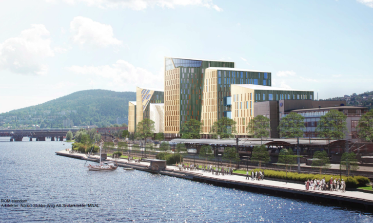 Drammen train station and Quality Hotel River Station