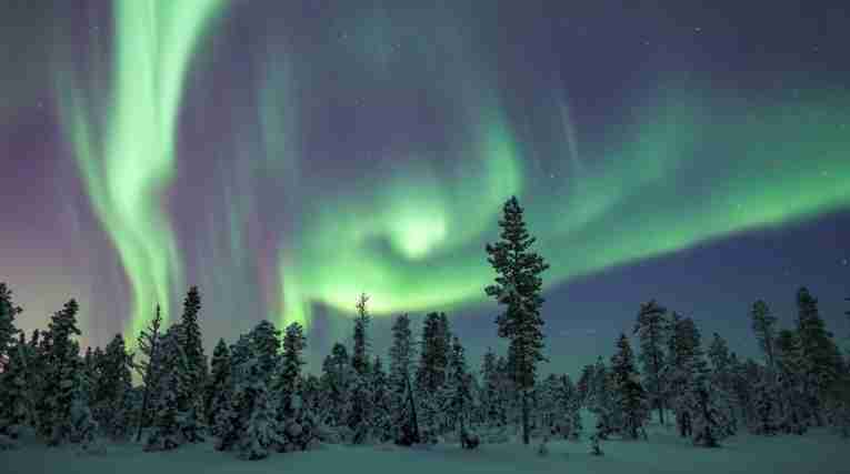 Northern lights, winter