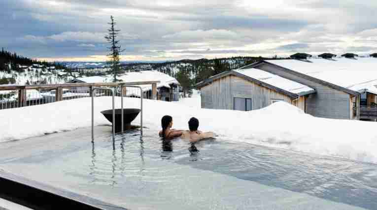 View from the outdoor pool at Norefjell Ski & Spa
