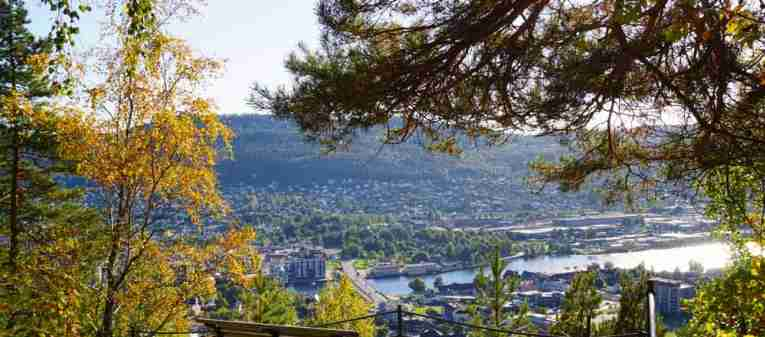 Drammen city view from a bench