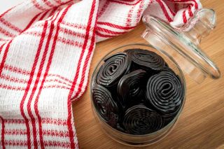 Licorice candy in a bowl