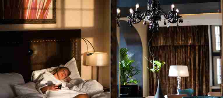 Girl in bed side by side in a collage with a picture of the lobby at Clarion Collection Hotel Havnekontoret