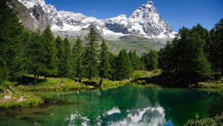 Cervinia - View of Matterhorn and lake