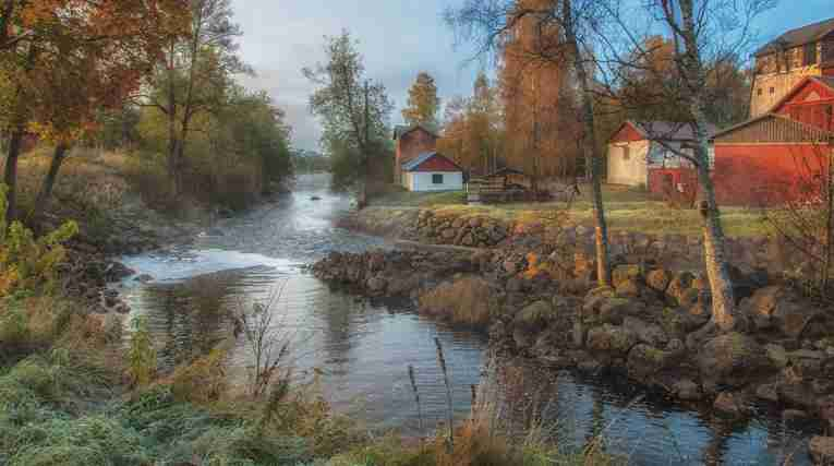 Filipstad river houses