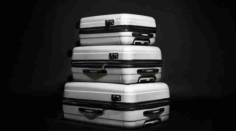 Three suitcases from Accent/Morris, stacked