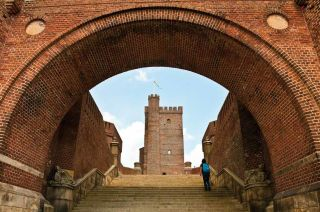 Karnan slott curved entrance and stairs Helsingborg