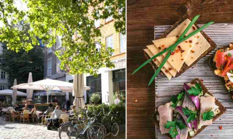 Outdoor cafe and sandwiches in Copenhagen, Denmark