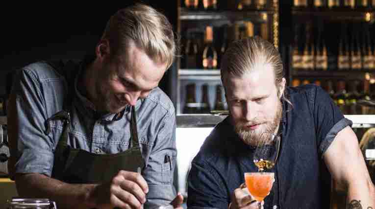 Bartenders at work in the Clarion Hotel Amaranten in Stockholm