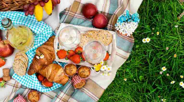 Picnic food on blanket in park