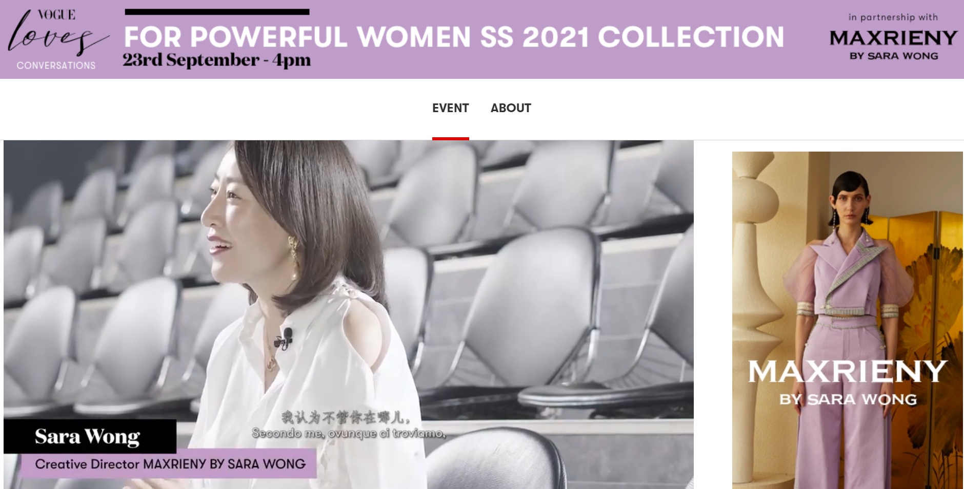 MAXRIENY BY SARA WONG - Benedetta Malavasi - Italy - Vogue Loves Conversation - Sponsor 1