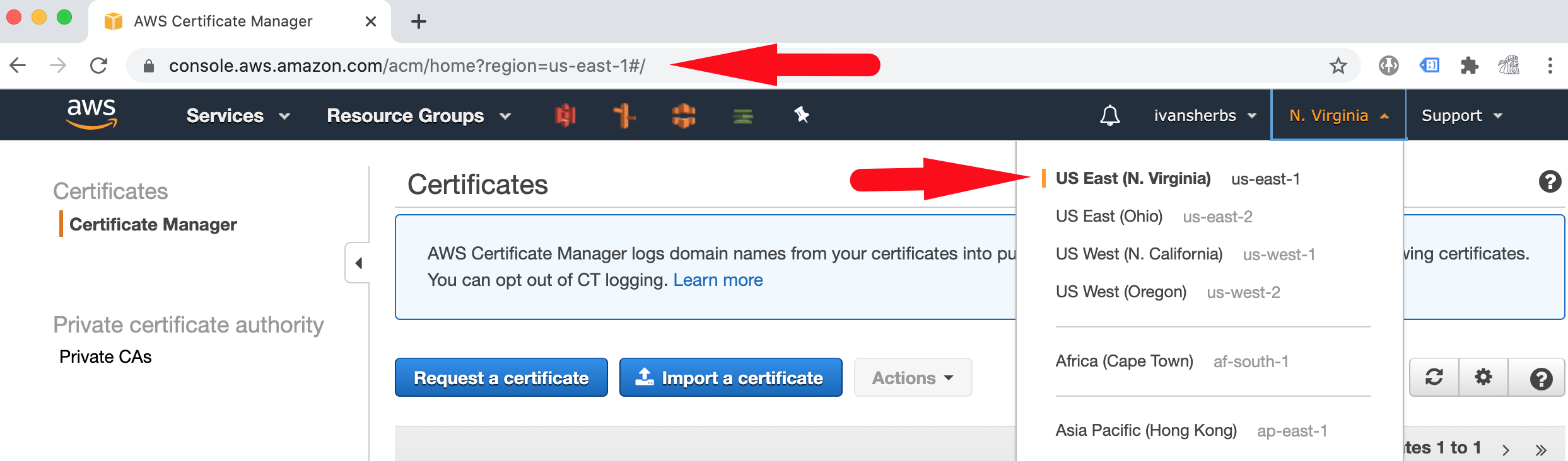 Screenshot for Amazon Certificate Manager region selection
