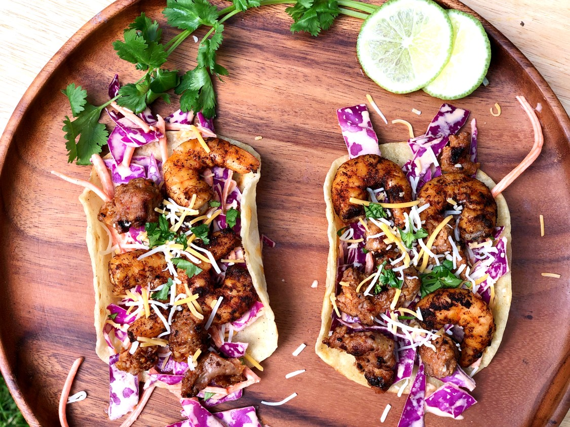 Grilled-Shrimp-Tacos-with-Crumbled-Sausage-Sriracha-Slaw-6