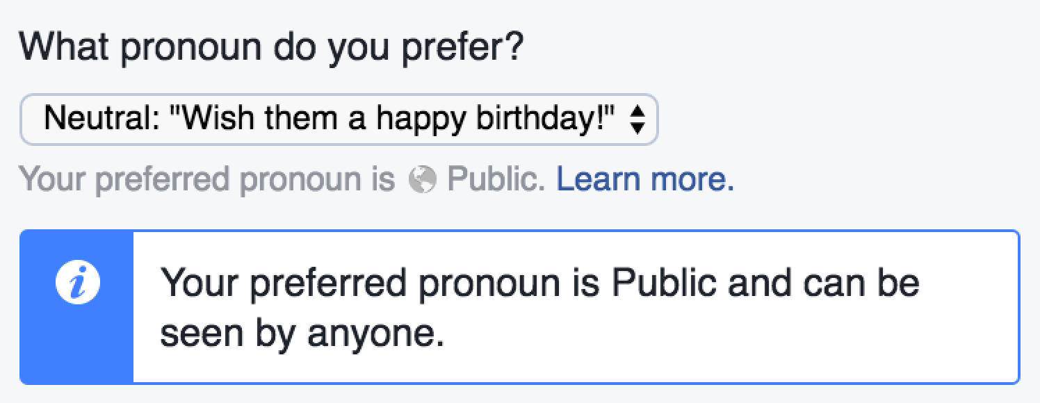 Facebook Preferred Pronoun Option