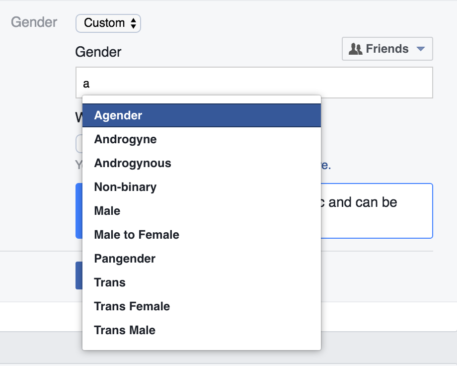 Facebook Gender Setting Options