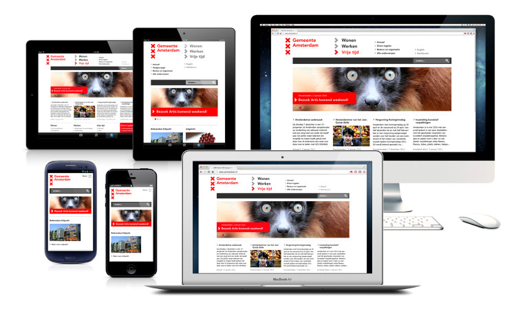 Responsive website Amsterdam.nl with thematic entrances for a broad audience