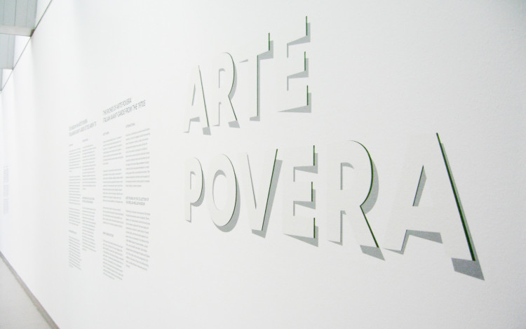 Examples of exhibition typography on the museum walls showing different uses of the 'Open Type' fonts.