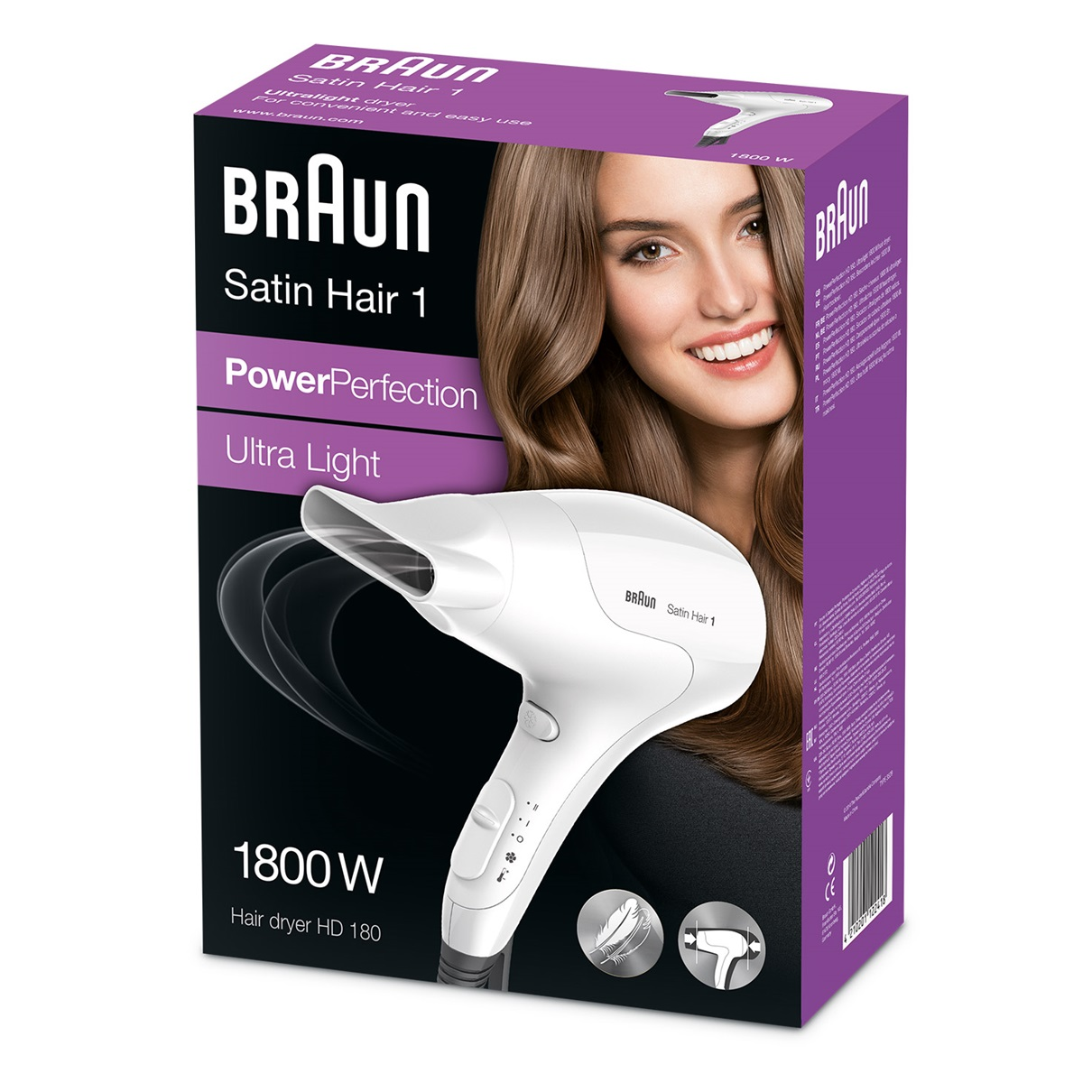 Satin Hair 1 PowerPerfection dryer HD180 packaging
