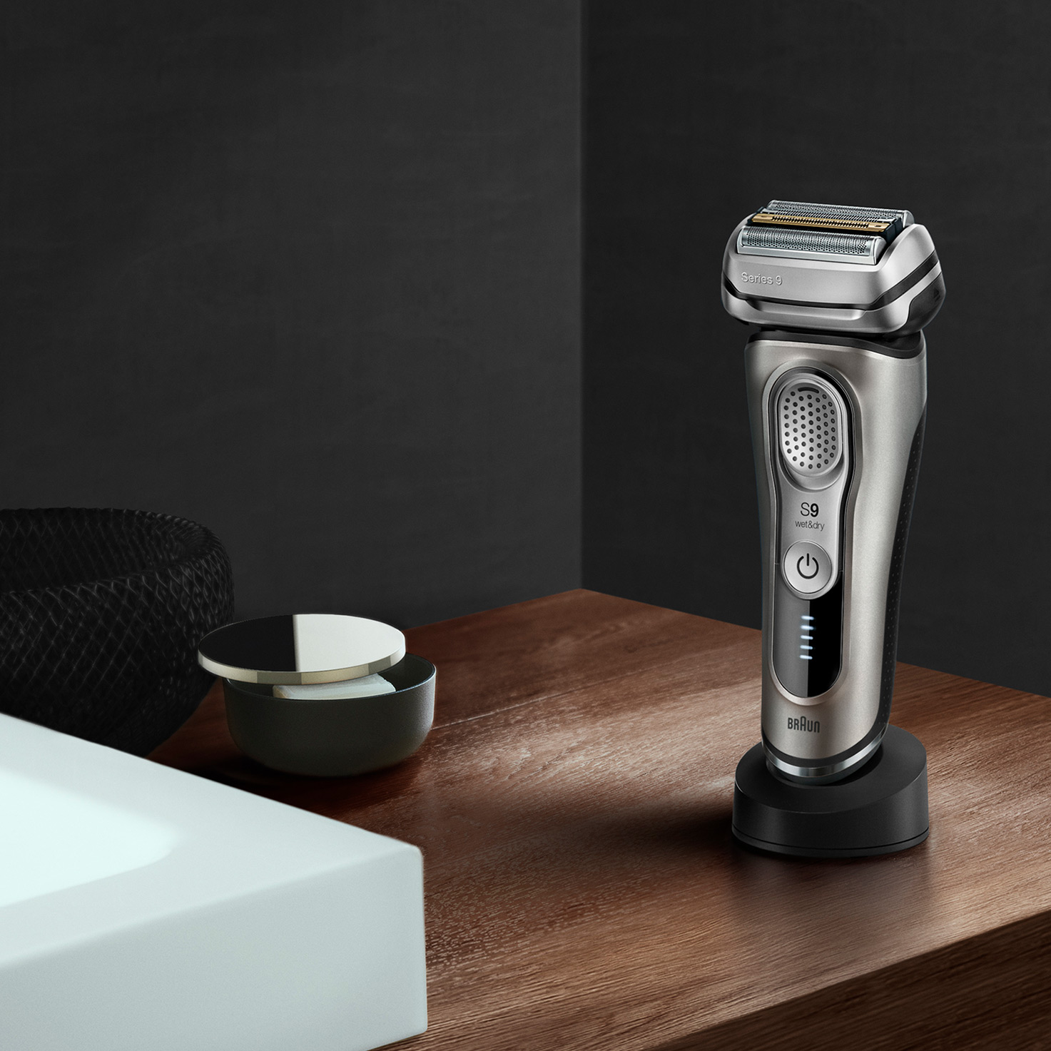 Series 9 9345s shaver in charging stand