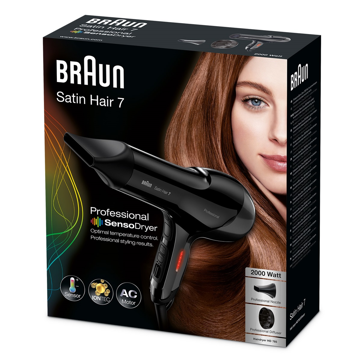 Braun Satin Hair 7 HD785 professional SensoDryer with IONTEC and diffuser - packaging