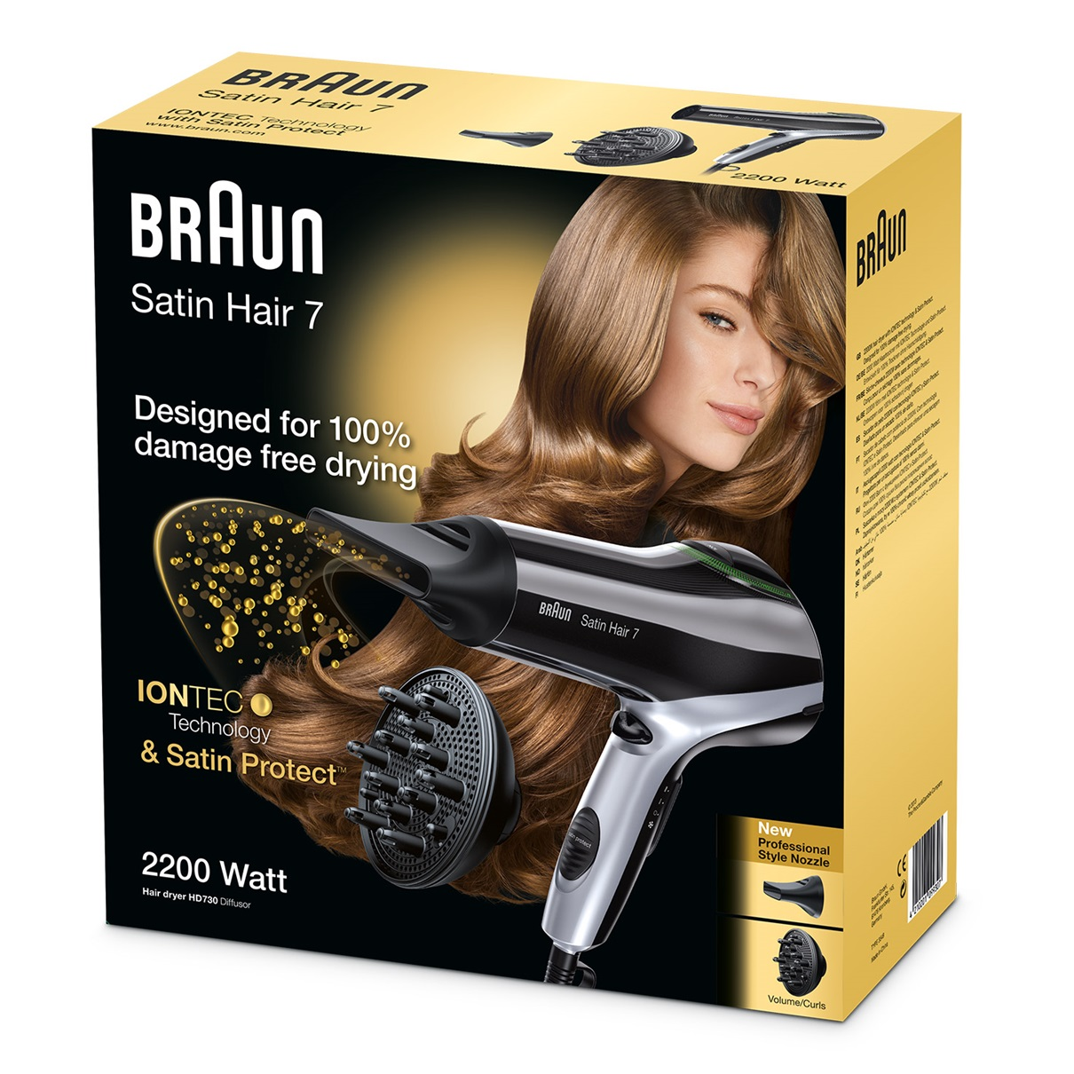 Braun Satin Hair 7 HD730 with IONTEC, Satin Protect and diffuser - packaging