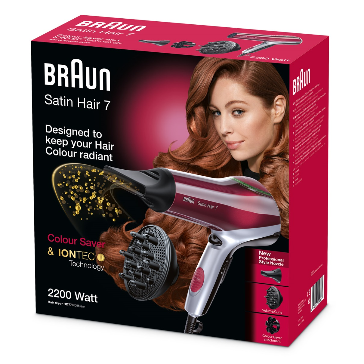 Braun Satin Hair 7 HD770 with Colour Saver technology and diffuser - packaging