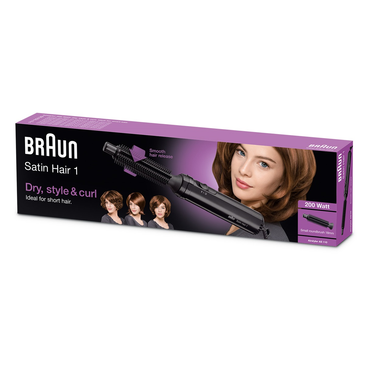 Braun Satin Hair 1 AS110 Airstyler for curls and short hair - packaging
