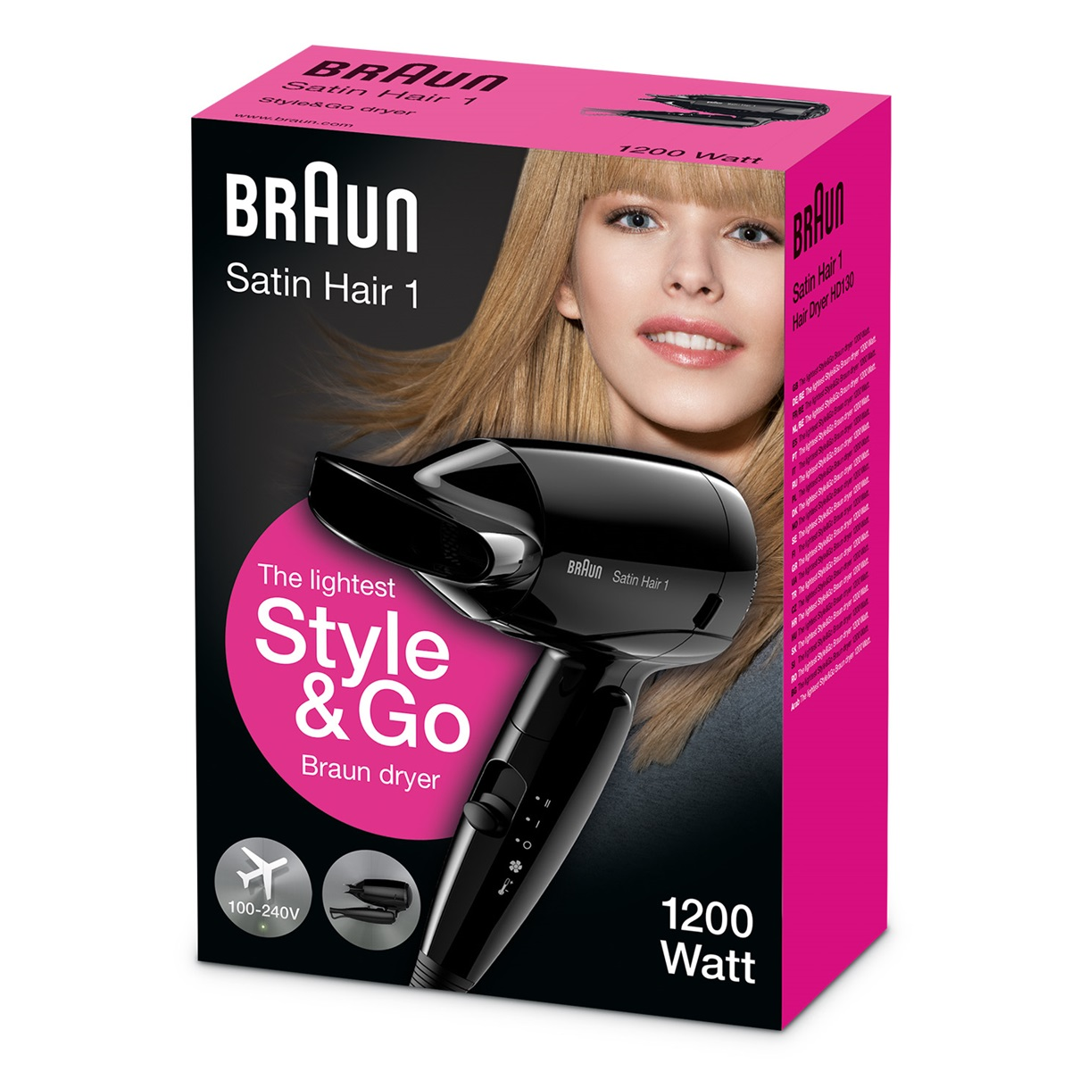 Braun Satin Hair 1 HD130 the lightest Style&Go Braun dryer - packaging