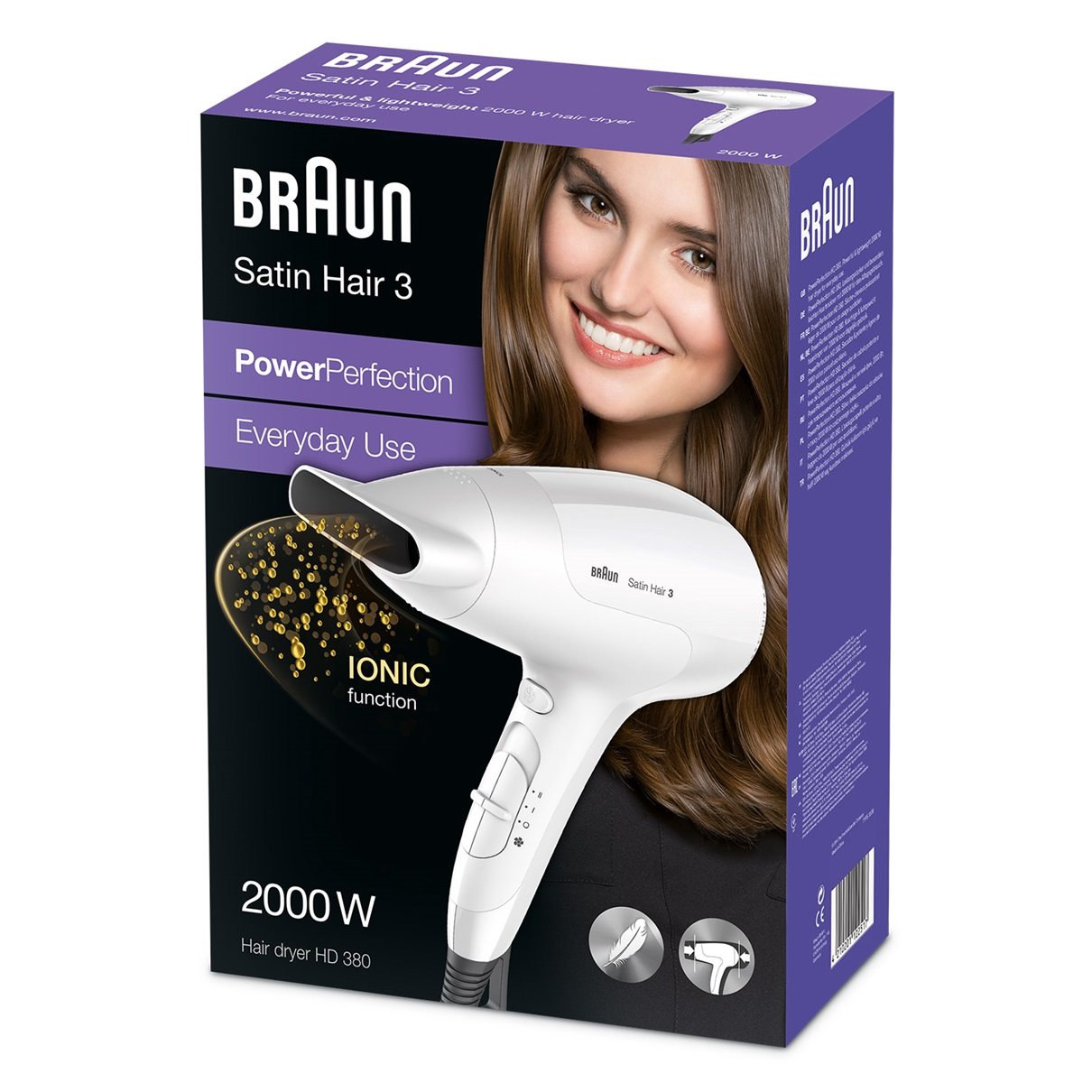 Satin Hair 3 PowerPerfection dryer HD380 packaging