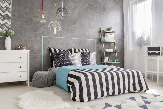 black-white-aqua-bedding