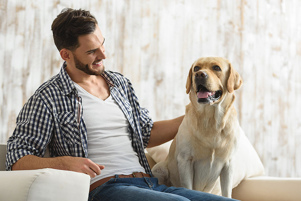 young bearded guy stroking his dog indoors