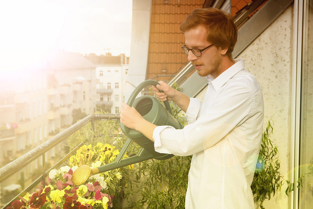 man-watering-plants-on-balcony