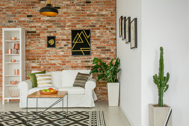 living room brick wall
