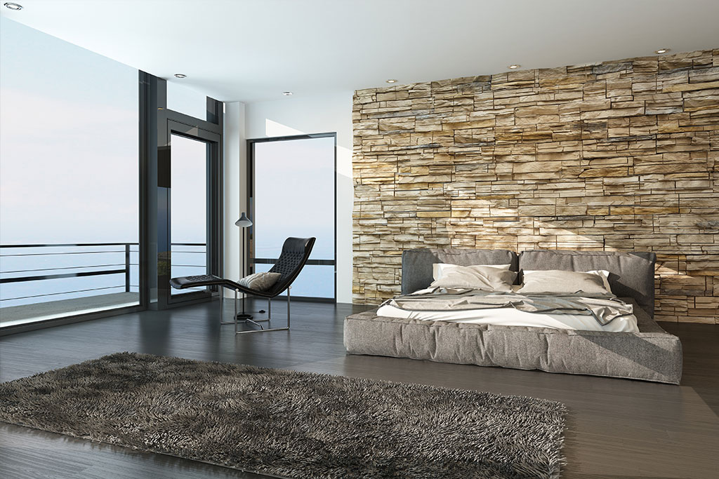 bedroom-with-stone-feature-wall