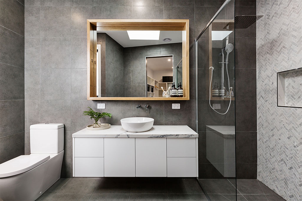 modern grey designer bathroom