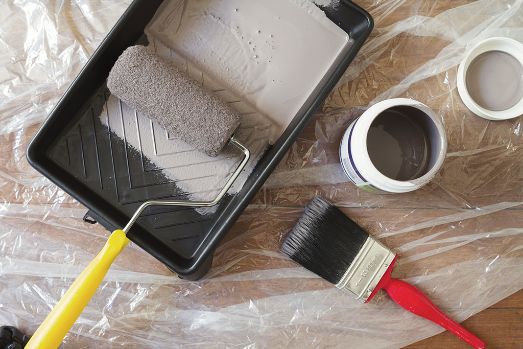 painting brush and roller