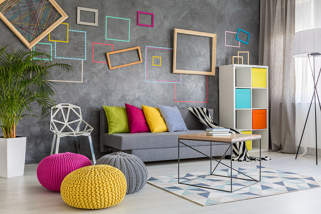 colourful feature wall
